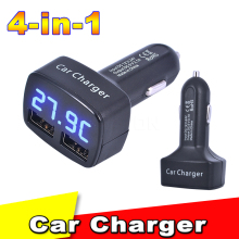 New Arrival DC 12-24V 4 in 1 USB Car Charger Dual Port 3.1A with Temperature/Voltage/Current with Blue Light Digital Display