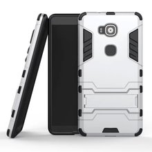 Cheap Protective Fundas For Huawei G8 G 8 / Huawei GX8 PC + Hard Silicone Dual Cases For Huawei G8 Coque Stand Holder Capinha