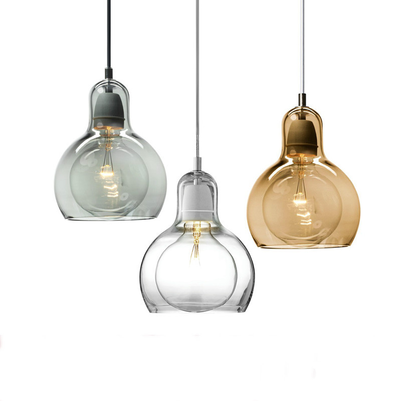 Modern led pendant light American Industrial Vintage Creative Retro Loft Pendant Light Glass Restaurant Lamp E27 ZDD0008<br>