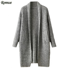 ROMWE Womens Casual Cardigans For Autumn Winter Ladies Plain Shawl Collar Drop Shoulder With Pocket Long Sweater Coat