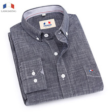 Langmeng 100% bamboo cotton spring autumn male long sleeve casual shirt men slim fit dress shirts chemise homme camisa masculina(China)