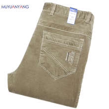 Mu Yuan Yang Corduroy Trousers 2016 New Mens Long Pants Large Size Middle Waist Business Casual Trousers For Male Clothing(China)