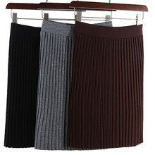 black grey brown stretch high waist knee-length umbrella pleated knitted warm skirt for women autumn winter womens knit skirts