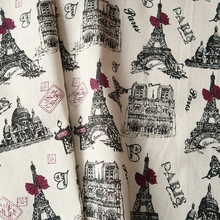 Printed Flower & Eiffel Tower cotton and Linen Fabric Retro Vintage sewing crafts cotton linen fabric 50*150cm(China)