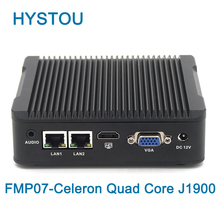 Hystou Low Cost Embedded Fanless Mini PC Celeron Quad Core J1900 2 LAN 2 RS232 COM Linux pfsense Mini Industrial Computer(China)