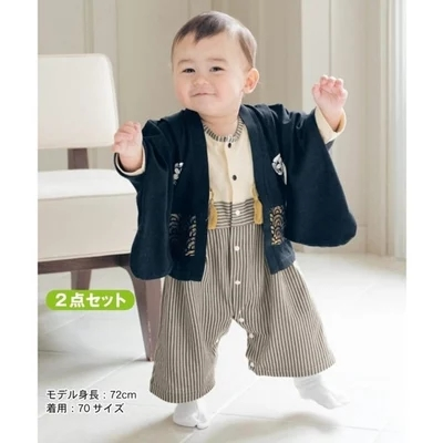 Summer child japanese style kimono style short-sleeve set vertical stripe twinset fashion baby boys cotton top +shorts 2pcs suit<br>