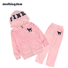 Mudkingdom 3-9 Years Girls Velvet Clothing Set Kids Baby Girl Pink Clothes Casual Sports Outfit Hooded Coats Jacket & Pants