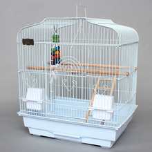 Super Larger Metal Iron Bird Cages Black White Parrot Cage Pet Cages Aviaries For Birds With Parrot Toys A07(China)