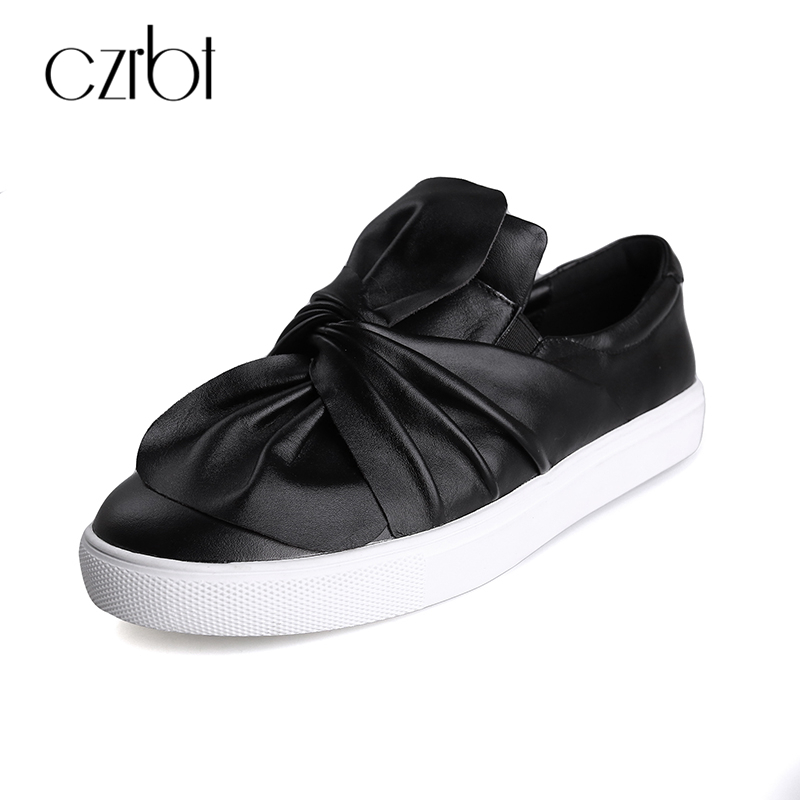 CZRBT Spring Autunmn Women Shoes Genuine Leather Flats Pleated Cow Leather Loafers Black White Round Toe Casual Flat Shoes Woman<br>
