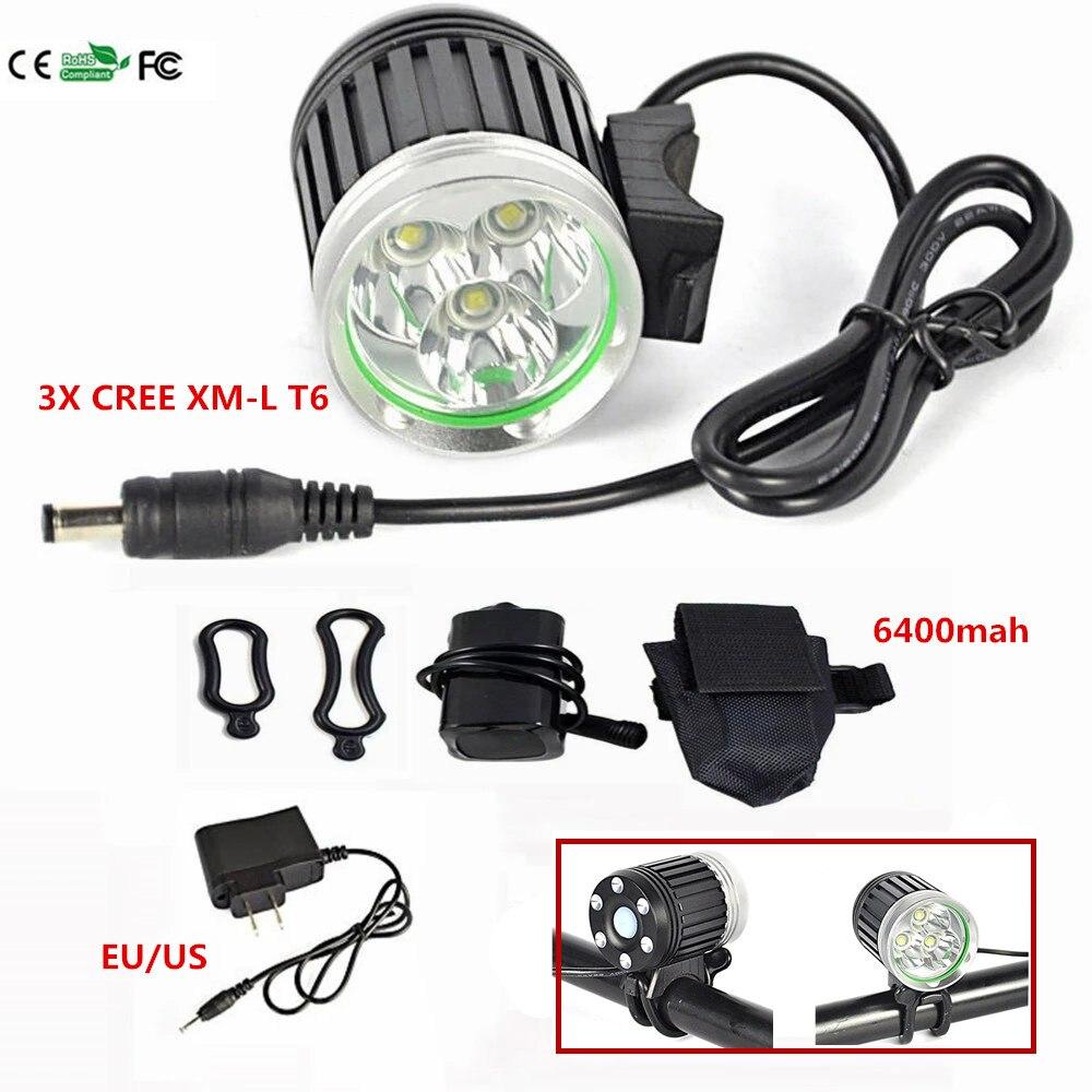 4000 Lumens 3x CREE XM-L T6 LED Headlight  Headlamp Bicycle Bike Light Waterproof Flashlight Camping +6400MAH Battery +charger<br><br>Aliexpress