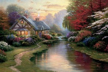 printed thomas kinkade landscape oil painting prints on canvas wall art picture for living room home decorations 40x50cm -614(China)