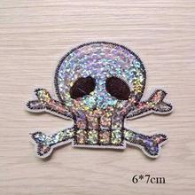NEW Sequin Skull Patches DIY Embroidered Patch For Clothing stickers Badge Iron on Sewing applique military transfer clothes