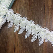 DoreenBeads Handmade Organza Chiffon Lace Fabric Beaded Flower For Skirt Wedding Dress Underwear Hats Making Approx.0.9m 1PC