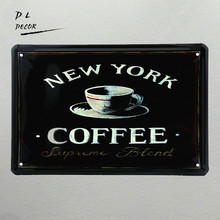 DL-NEW YORK COFFEE!!Vintage Tin Signs coffee Decor for Home Club Bar CAFE Hotel Antique Metal Painting