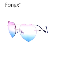 DIMSHOW with bag 2017 FASHION Love Sunglasses Women Rimless Heart Shaped Lover Pilot Gradient Sun Glasses cheap china gift(China)