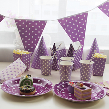 Disposable Tableware Sets Purple Theme TableCloth Cups Paper Plate Napkin Flag Kids Boy Birthday Party Decoration(China)