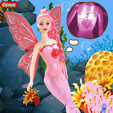 Oenux Original Luminous Swimming Mermaid Dolls Classic Fashion Princess Mermaid Doll With Butterfly Wing Girls Toy For Girl Gift(China)
