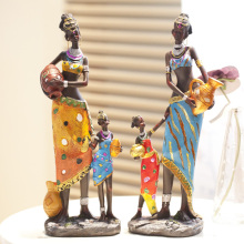 Free shipping fashion African figures ornaments resin decor desktop decoration family  christmas unique crafts doll Set 2pcs