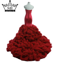 Buy Luxury Long Train Croset Bodice Top Lace Cloud Mermaid Wedding Dress Burgundy Bridal Gowns Robe De Mariage Rouge 2017 for $197.10 in AliExpress store