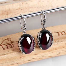Yellow chalcedony red garnet with 925 sterling silver dangle earring vintage pendientes mujer moda bohemian style indian jewelry(China)