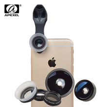 Apexel New Universal Clip 5 in 1 Mobile Phone Lenses Fish Eye Wide Angle Macro CPL Lens Camera Kits for Smartphones APL-SJ5