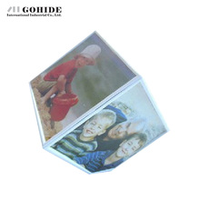 JUH A Electric Rotating Photo Frame Magic Cube Photo ID Frame Birthday Gifts 6-Faced In 6 Inches Picture Frame Plastic