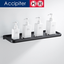 Nail Free high quality Dresser black bathroom pendant single layer pallet racks minimalist Bathroom Shelves(China)