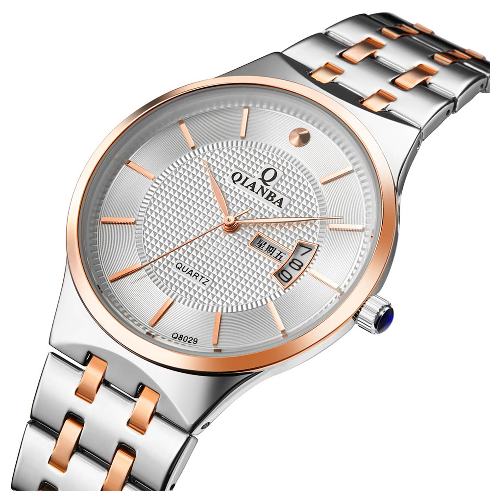 2017 QIANBA Top Men Luxury Brand Stainless Steel WristWatches Quartz Waterproof Casual Fashion Business Day&amp; Date Watches<br><br>Aliexpress
