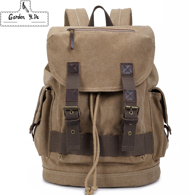Backpacks Men Canvas With Genuine Leather Male Travel Bag Vintage School Bags  Casual Daypack Mochila 2017 New PT0284<br><br>Aliexpress