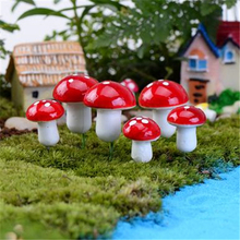Mini Red Mushroom Garden Ornament Miniature Plant Pots Fairy DIY Dollhouse 8.5cm 20 Pieces