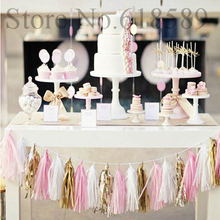 14 Inch Tissue Paper Tassel Garland DIY Wedding Decoration New Year Garland 2018 Party Paper Flower Birthdays Party Decorations(China)