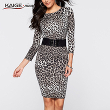 KaigeNina New Fashion Hot Sale Women  O Three Quarter Leopard Party Cocktail Work Club Clubwear Bodycon Sheath Dress 2202