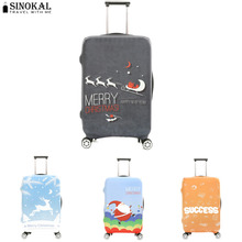 SINOKAL Travel On Road Suitcase Cover Luggage Protector Cover Elastic Chrismas Theme Pattern Cover for 18-32 inch Suitcase