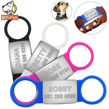 Personalized Dog Tag Tensile Rubber Stainless Steel ID Tags Customized Anti-lost Tag for Small Medium Large Dogs Cats Pet(China)