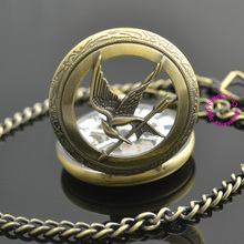 wholesale buyer price good quality new bronze retro vintage hunger games 2 bird mechanical pocket watch with chain