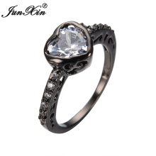 2017 White Heart Wedding Ring Black Gold Filled Female Women Wedding Bands Promise Ring Promotion Bague Femme RB0397