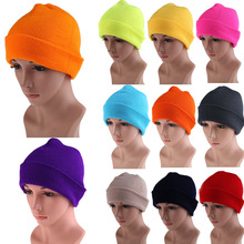 21 Color High Quality Hats Female Winter Beanies Solid Candy Color Men Women Warm Cuff Plain Knit Ski Long Beanie Skull Cap
