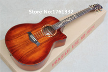 Wholesale Factory Custom 41'' red koa body acoustic guitar with solid top,golden tuners,black binding,can be customized