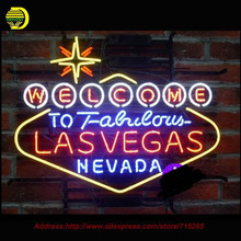 Larger Welcome to Las Vegas Neon Sign Beer Handcrafted Neon Bulbs Glass Tube Custom Lamp Neon Bulb Resistor Flashlight VD 24X20