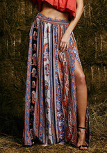 Gypsy fashion Sexy ladies Summer style floral Long skirt vintage boho tribal maxi Beach Evening Party skirt(China)