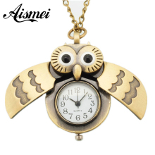 2017 Unique Antique Fashion Alloy Vivid Owl Pocket Watch Pendent Necklace Chain Vintage Fob Watch Active Wings Clock