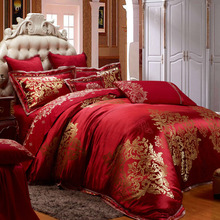 Satin Jacquard Luxury Chinese Wedding Bedding Set 11Pcs King Queen Size Bed set Duvet Cover Bed spread Bedclothes Pillowcases(China)