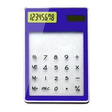 Ultra Slim Solar Touch Screen LCD 8 Digit Electronic Transparent Calculator Multi-color Solar Calculator Counter