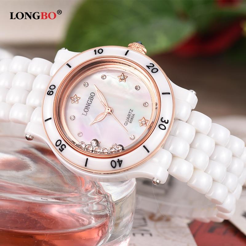 2017 New Luxury Brand LONGBO Women Real Ceramic Watch Fashion Geneva Female Watches Lady Quartz Wrist watches relojes mujer 6080<br>