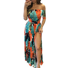 Buy Summer Floral Print Dresses Women Sexy Slash Neck Shoulder High Split Long Maxi Dress 2017 Summer Style Tight Dress Plus 2XL for $14.61 in AliExpress store