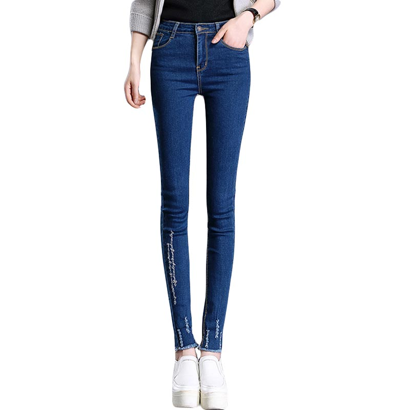 In spring, autumn new nine minutes of pants high waist jeans women fashion jeans, embroidery letters pencil jeansОдежда и ак�е��уары<br><br><br>Aliexpress