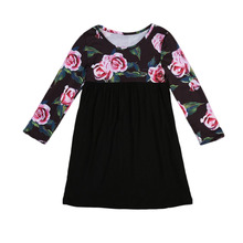2-7Y Toddler Kids Baby Girls Long Sleeve Floral Dress Summer Autumn O-neck Patchwork Children Party Dresses One Pieces Clothing(China)