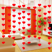 16pcs/set 7*7cm Heart Ornaments With 3m Rope Charm Curtain Felt Non-woven Banner For Home Wedding Party Valentine Decoration