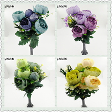 6 Heads/lot Artificial Fake Peony Silk Flowers Bridal Bouquet Flower Arrangement Home Wedding Decor DIY Flores Artificiales(China)