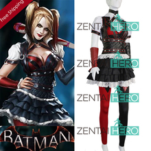 2017 Halloween Batman Arkham Asylum Harley Quinn Costume Carnival Cosplay Costumes Outfit Party Dress Dark Knight Suit for Women